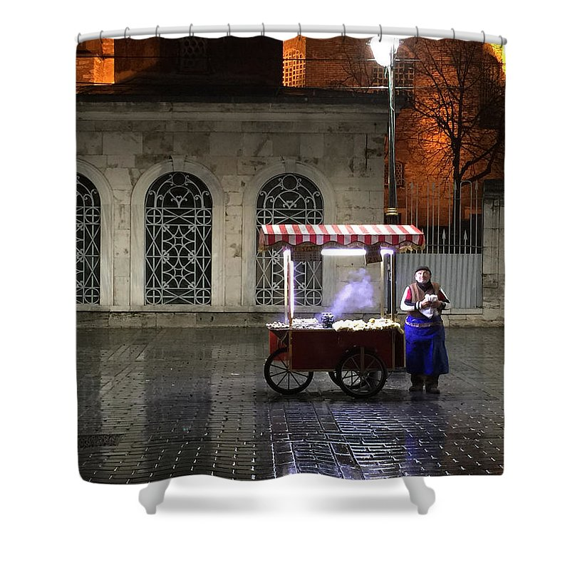 Istanbul Shower Curtain featuring the photograph Snack Seller Cankurtaran Istanbul by Doveen Schecter