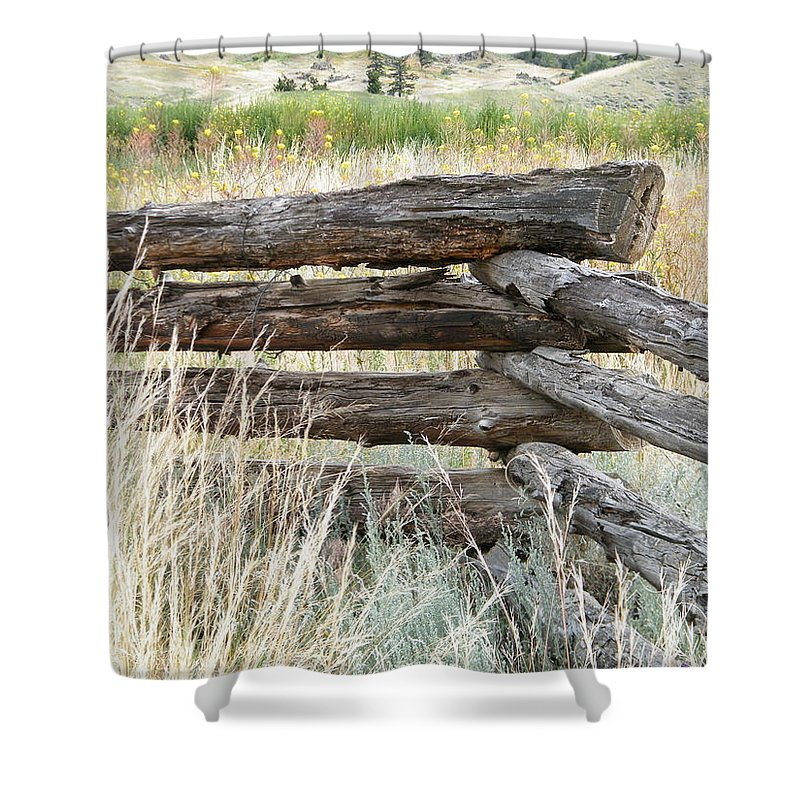 Snake Fence Shower Curtain featuring the photograph Snake Fence And Sage Brush by Ann E Robson