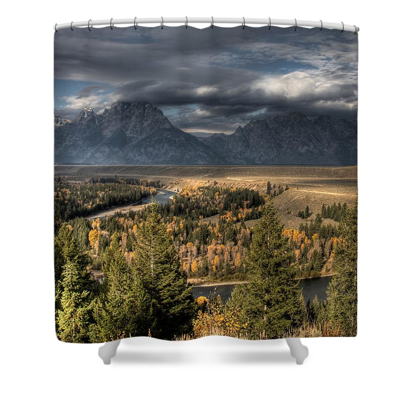 Snake River Storm Shower Curtain featuring the photograph Snake River Storm by Wes and Dotty Weber