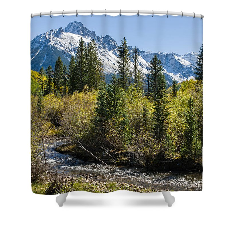 Colorado Photographs Shower Curtain featuring the photograph Sneffles And Stream II by Gary Benson