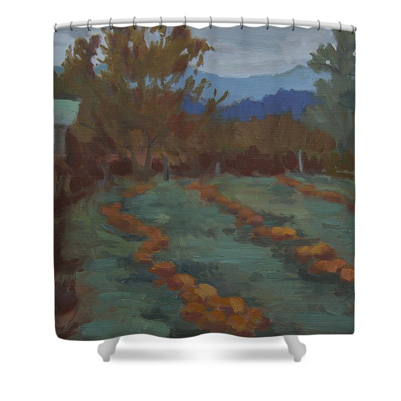 Snohomish Shower Curtain featuring the painting Snohomish Pumpkin Patch by Diane McClary