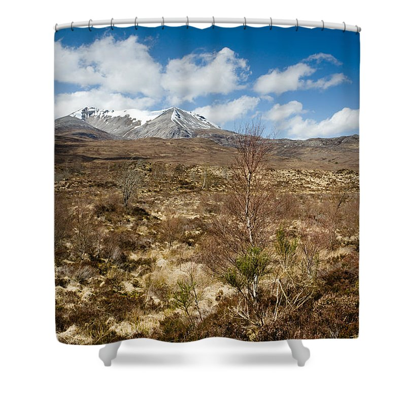 Beinn Eighe Shower Curtain featuring the photograph Snow Capped Sgurr Nan Fhir Duibhe by David Head