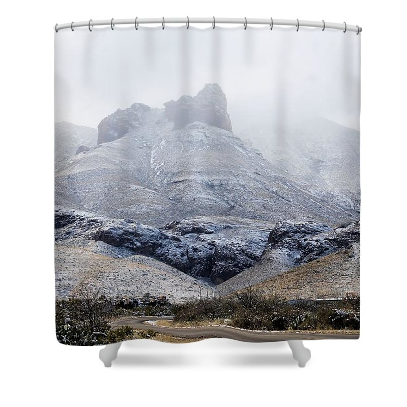 Shower Curtain featuring the photograph Snow In Big Bend by G Berry