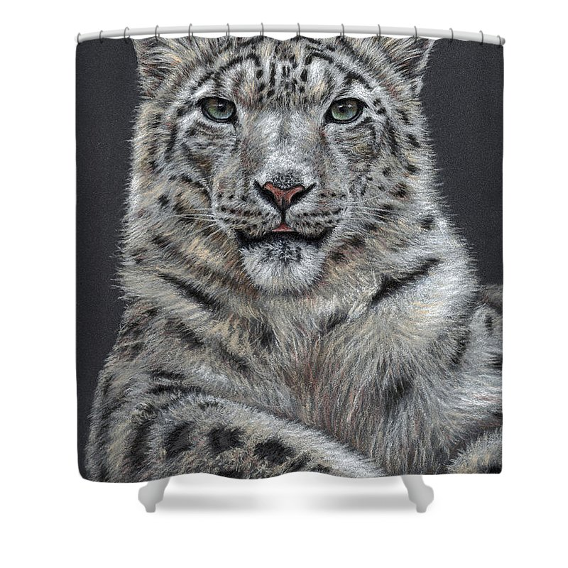 Snow Shower Curtain featuring the pastel Snow Leopard by Nicole Zeug