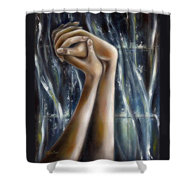 Blue Shower Curtain featuring the painting Snow Light by Hiroko Sakai