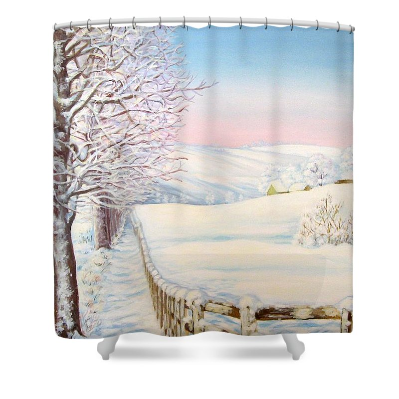 Winter Shower Curtain featuring the painting Snow Path by Inese Poga