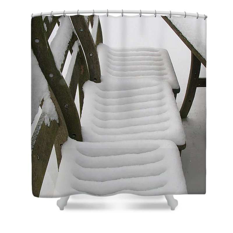 Snow Shower Curtain featuring the photograph Snow Seat by Maria Joy