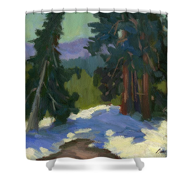 Mammoth Mountain Shower Curtain featuring the painting Snow Shadows Mammoth Mountain by Diane McClary