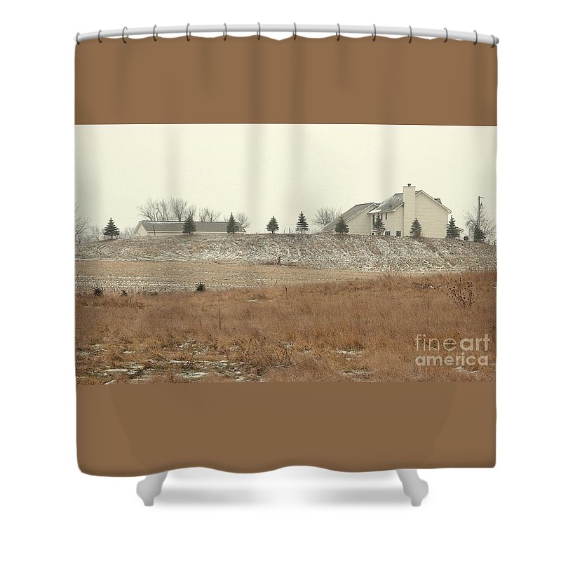 Winter Shower Curtain featuring the photograph Snow-showered by Ann Horn