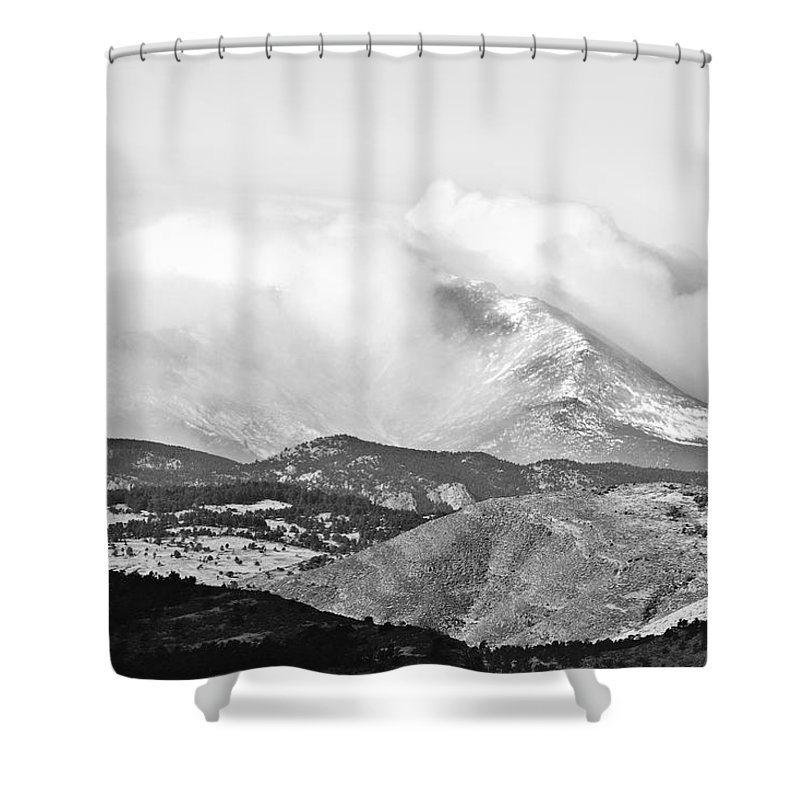 Colorado Shower Curtain featuring the photograph Snow Storm On The Twin Peaks Longs And Meeker by James BO Insogna
