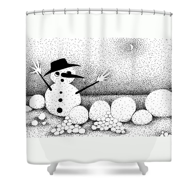 Designs Shower Curtain featuring the drawing Snowball Fight by Joy Bradley