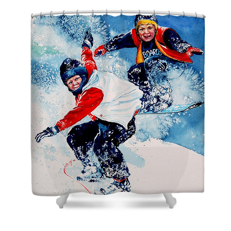 Sports Shower Curtain featuring the painting Snowboard Psyched by Hanne Lore Koehler