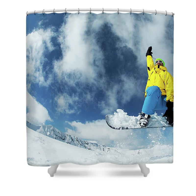 Young Men Shower Curtain featuring the photograph Snowboarding by Yulkapopkova