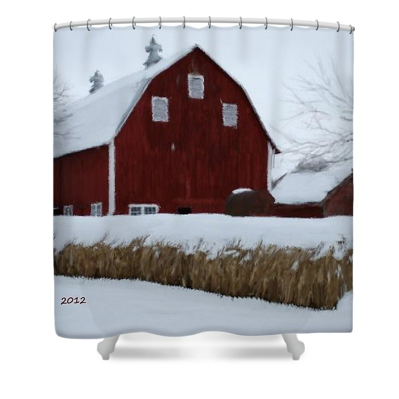 Barn Shower Curtain featuring the painting Snowed In Barn by Bruce Nutting
