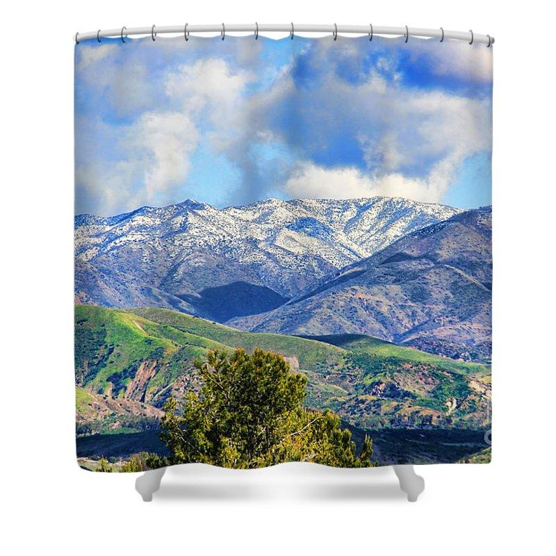 Snowing In Orange County Shower Curtain featuring the photograph Snowing In Orange County by Mariola Bitner