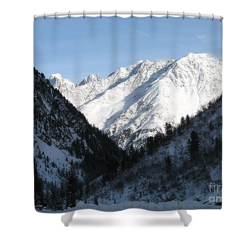 Snow Shower Curtain featuring the photograph Snowwhite Mountain Top by Christiane Schulze Art And Photography