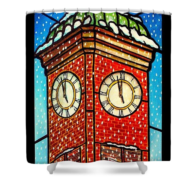 Snow Shower Curtain featuring the painting Snowy Clock Tower by Jim Harris