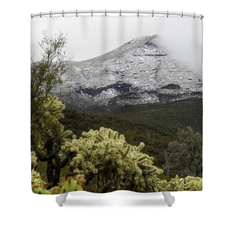 Desert Shower Curtain featuring the photograph Snowy Desert Mountain by Laurel Powell