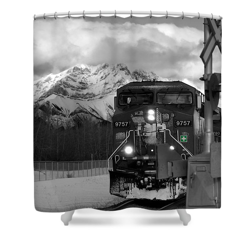 Rocky Mountains Shower Curtain featuring the photograph Snowy Engine Through The Rockies by Lisa Knechtel