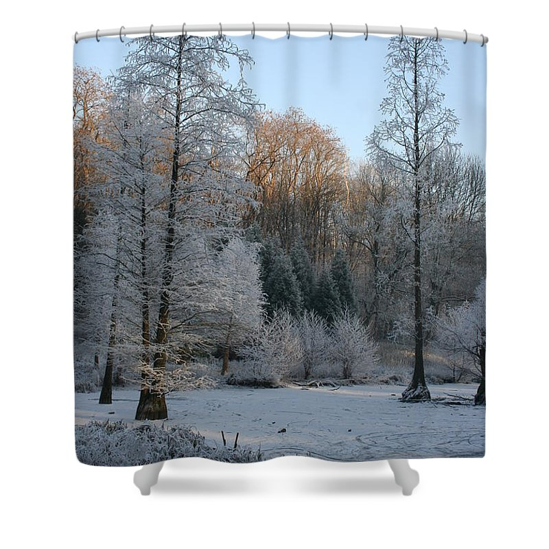 Snow Shower Curtain featuring the photograph Winter Landscape by Christiane Schulze Art And Photography