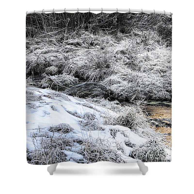 Sundance Aspen Shower Curtain featuring the photograph Snowy Mountain Stream V2 by Douglas Barnard