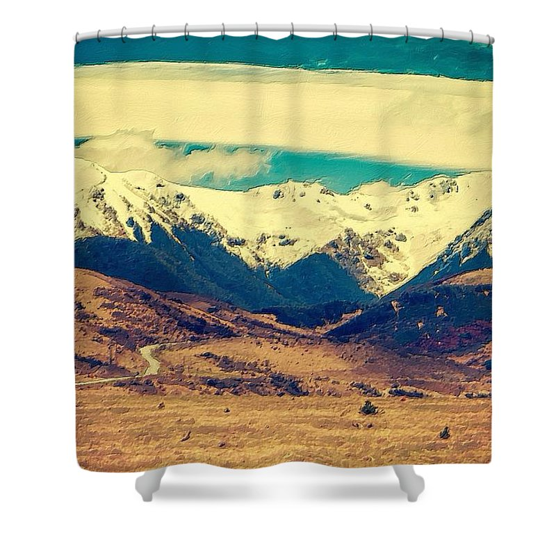 Mountain Shower Curtain featuring the painting Snowy Mountains by Florian Rodarte