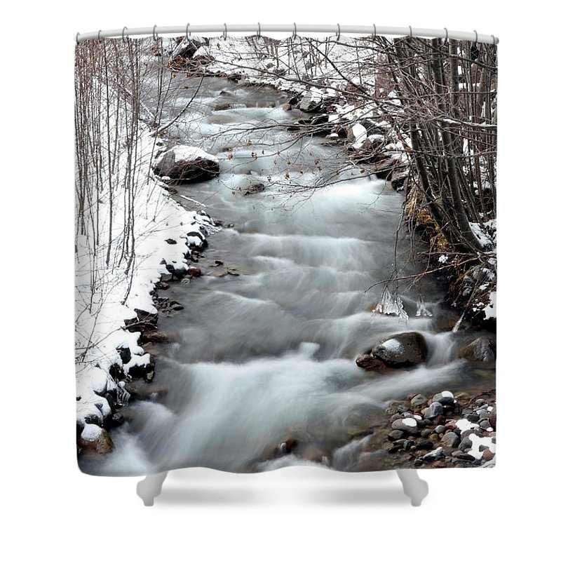 Mount Hood Waterfall Shower Curtain featuring the photograph Snowy River At Mt. Hood by Athena Mckinzie