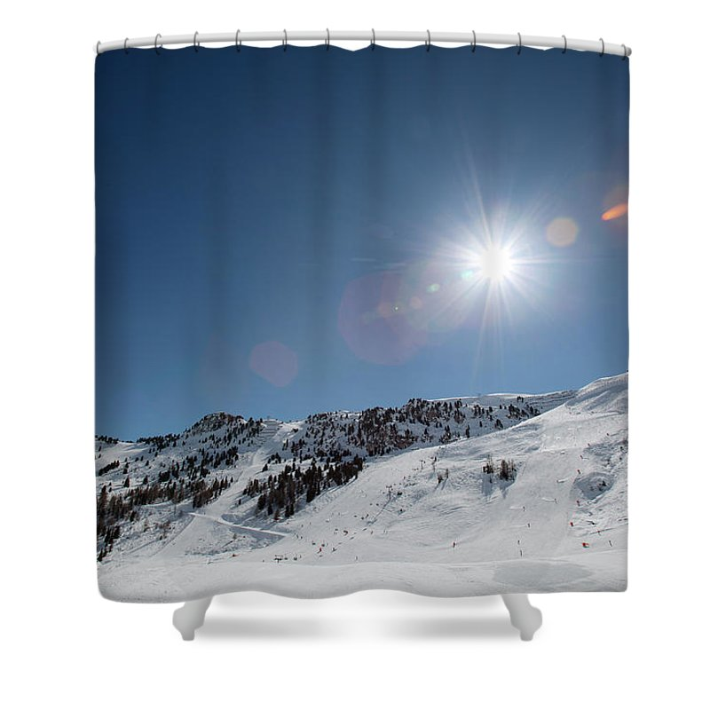 Scenics Shower Curtain featuring the photograph Snowy Ski Resort by Chris Tobin