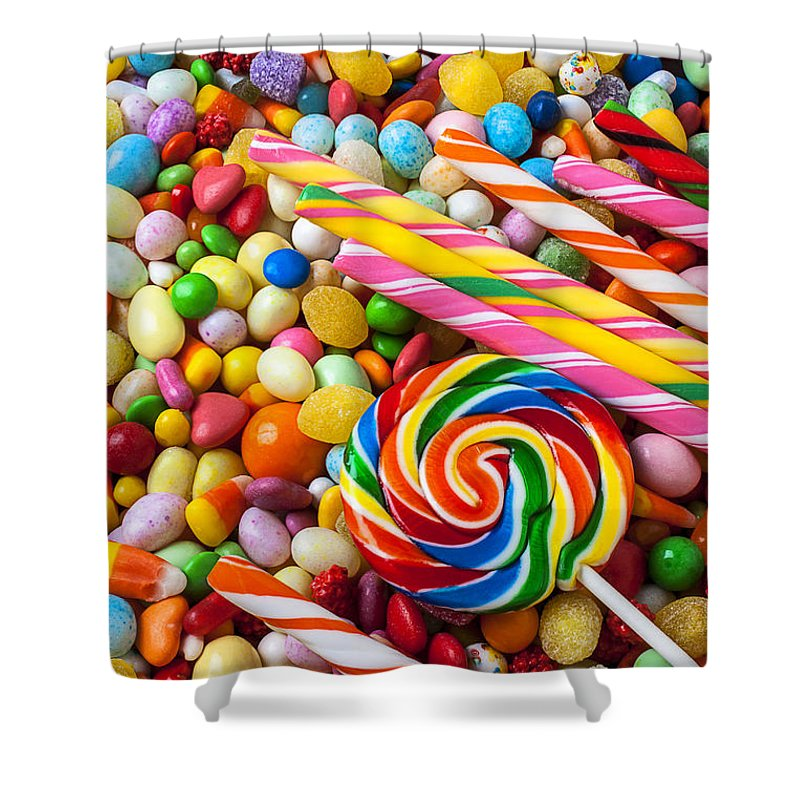 Jelly Beans Shower Curtain Featuring The Photograph So Much Candy By Garry Gay