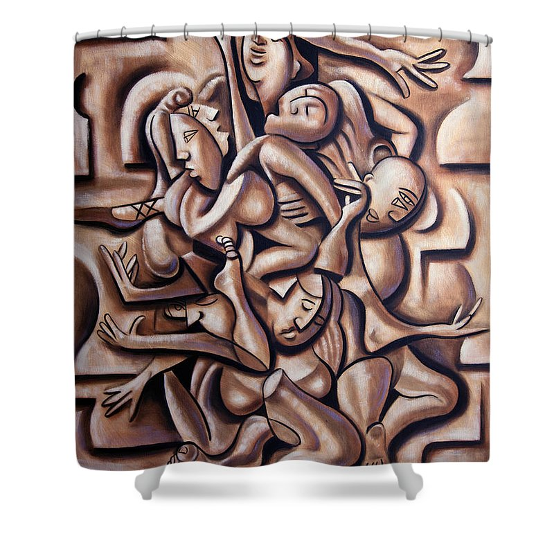 So You Think You Can Dance Framed Prints Shower Curtain featuring the painting So You Think You Can Dance by Anthony Falbo
