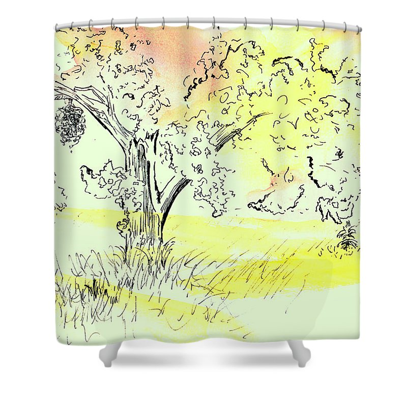 Watercolor Shower Curtain featuring the painting Soaking up the Sunset by Andrew Gillette