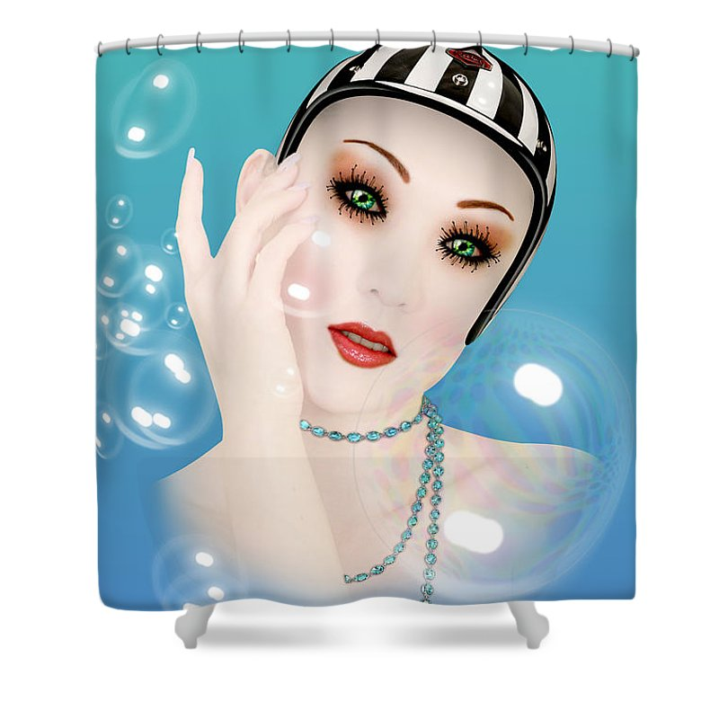 Soap Bubble Shower Curtain featuring the digital art Soap Bubble woman by Mark Ashkenazi