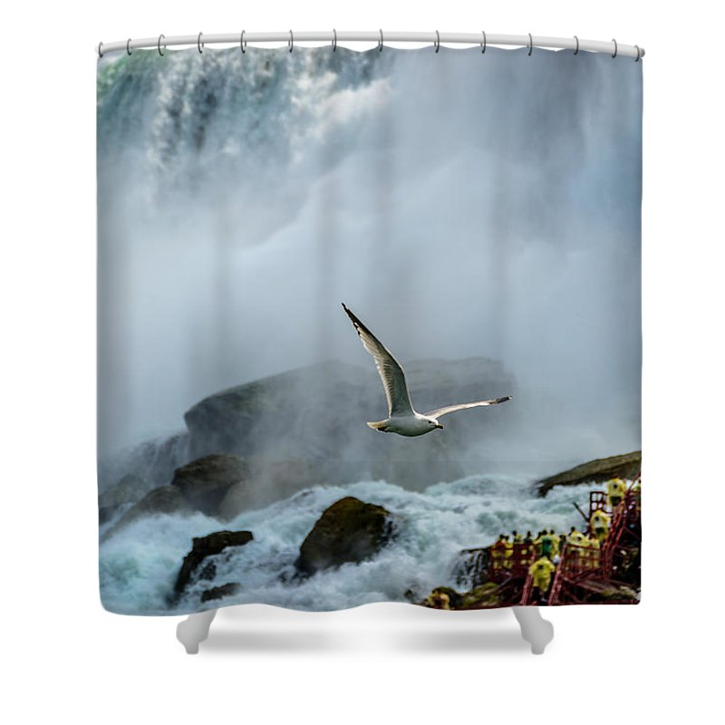 Niagara Falls Shower Curtain featuring the photograph Soaring In The Mist by Pat Scanlon