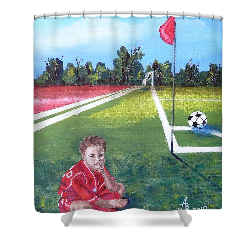 Soccer Shower Curtain featuring the painting Soccer Field by Anna Ruzsan