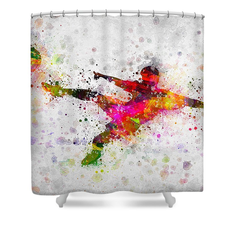 Soccer Shower Curtain featuring the digital art Soccer Player - Flying Kick by Aged Pixel