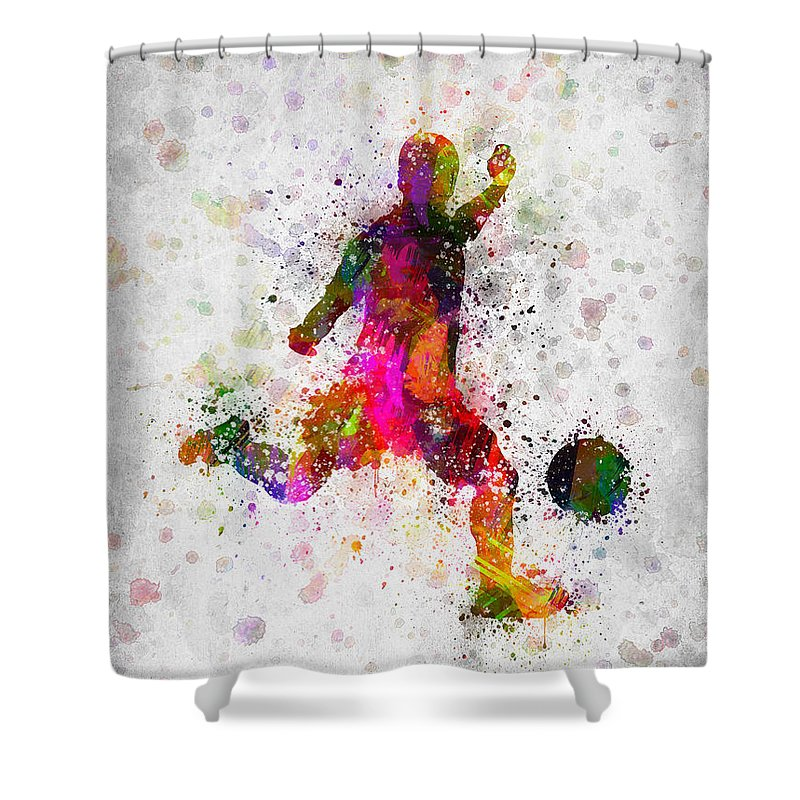 Soccer Shower Curtain featuring the digital art Soccer Player - Kicking Ball by Aged Pixel