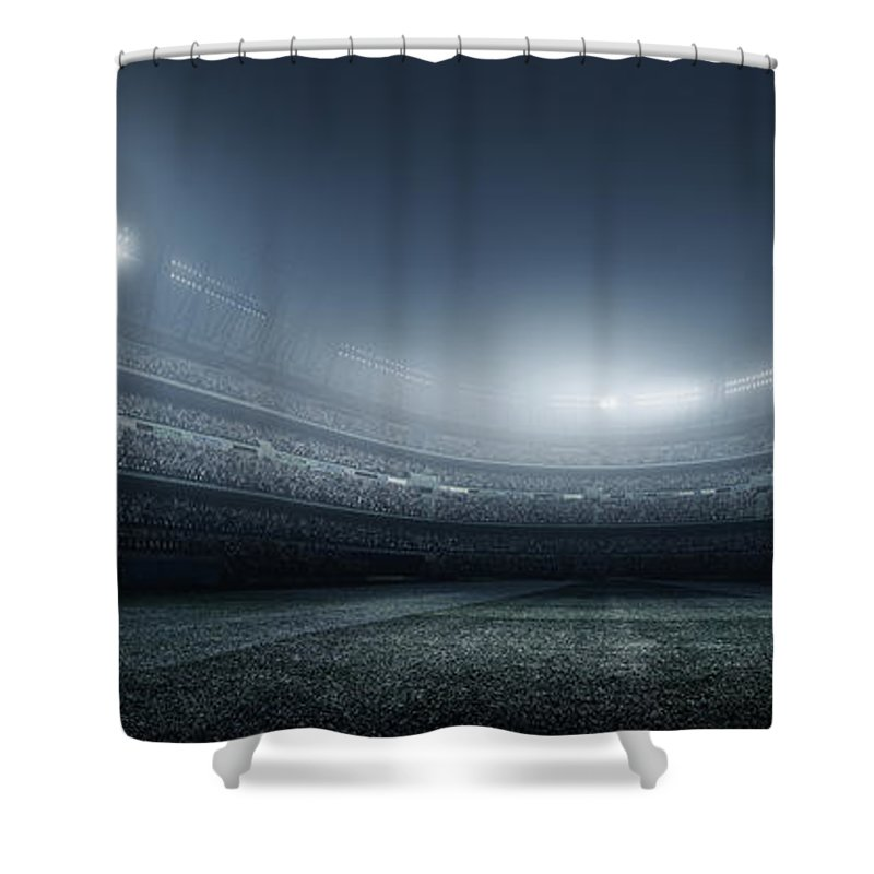 Soccer Uniform Shower Curtain featuring the photograph Soccer Player With Ball In Stadium by Dmytro Aksonov