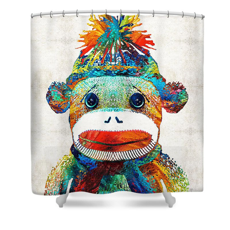 Sock Monkey Shower Curtain Featuring The Painting Art
