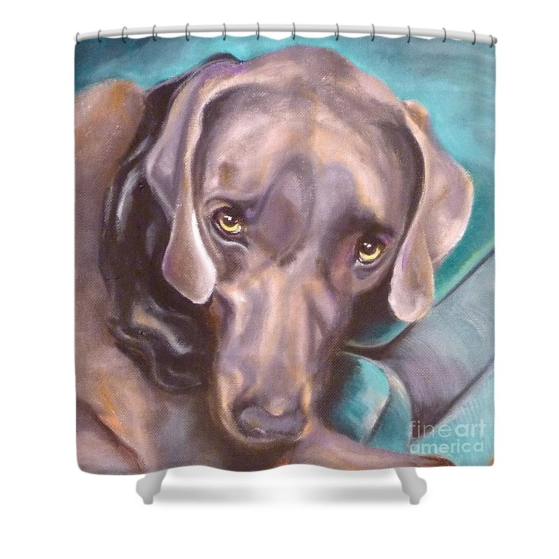Dog Shower Curtain featuring the painting Sofa Serenade by Susan A Becker