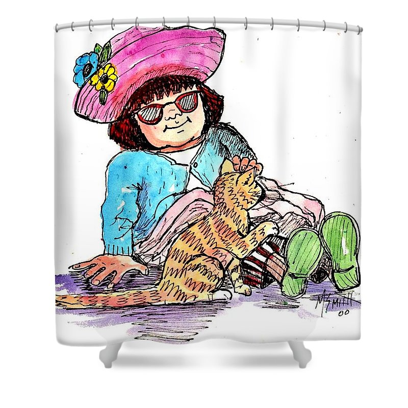 Red Haired Girl Shower Curtain featuring the drawing Sofie And Mittens by Marilyn Smith