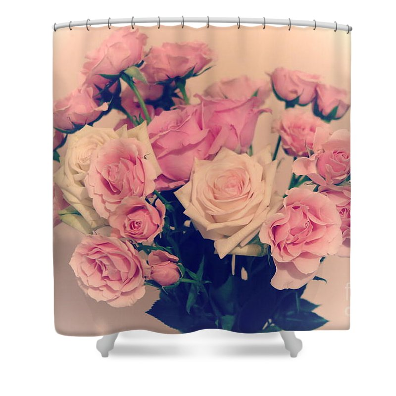 Floral Shower Curtain featuring the photograph Soft Pastel Roses by Tara Shalton