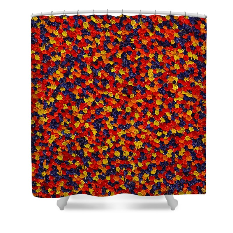Abstract Shower Curtain featuring the painting Soft Primary by Dean Triolo