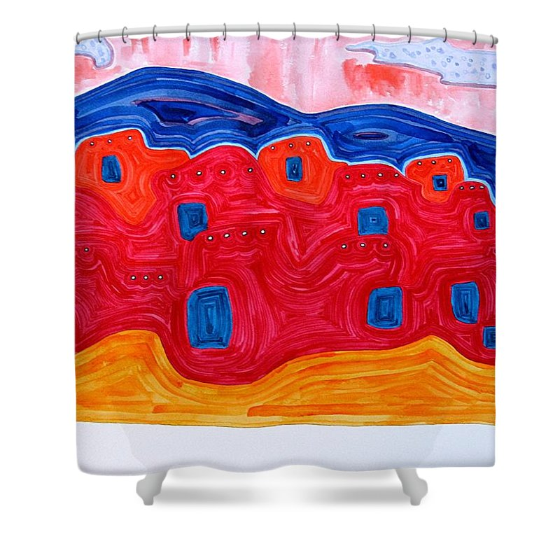 Painting Shower Curtain featuring the painting Soft Pueblo Original Painting by Sol Luckman