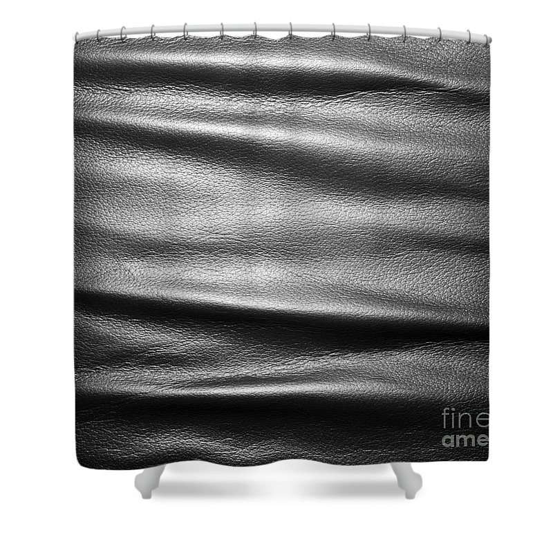 Leather Shower Curtain Featuring The Photograph Soft Wrinkled Black By Michal Bednarek