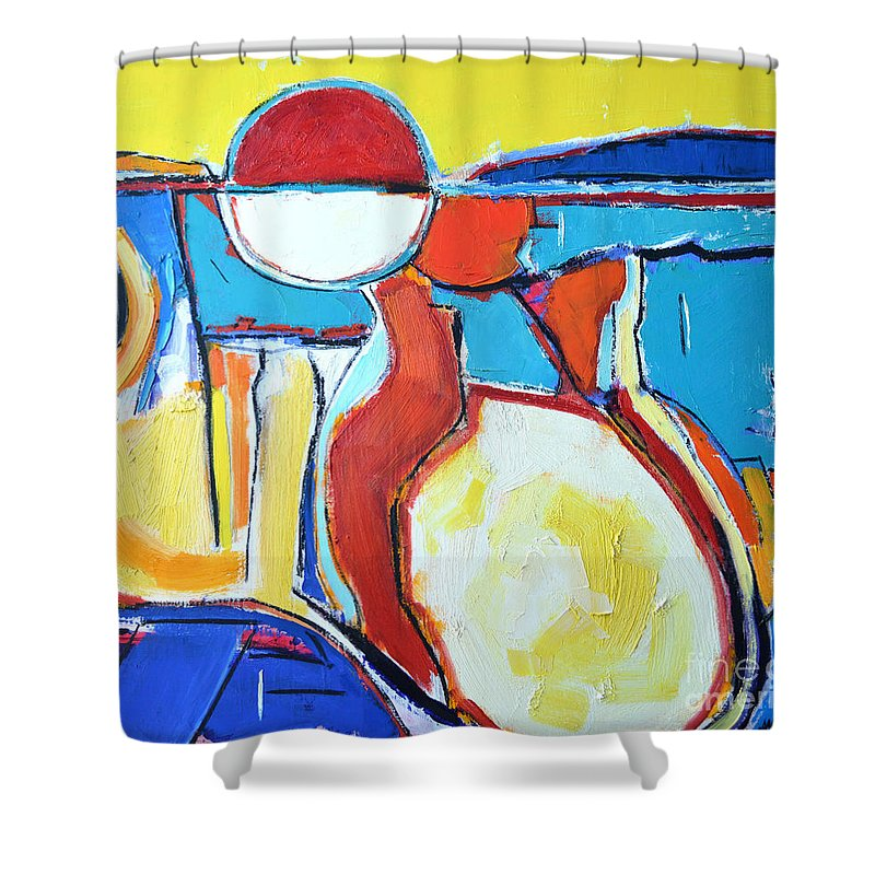 Abstract Shower Curtain featuring the painting Solar Polyphony by Ana Maria Edulescu