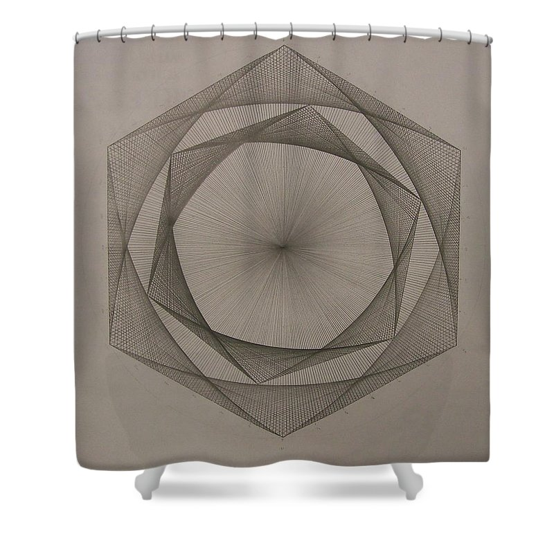 Fractal Shower Curtain featuring the drawing Solar Spiraling by Jason Padgett