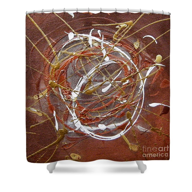Bronze Shower Curtain featuring the painting Solaris One by Holly Picano