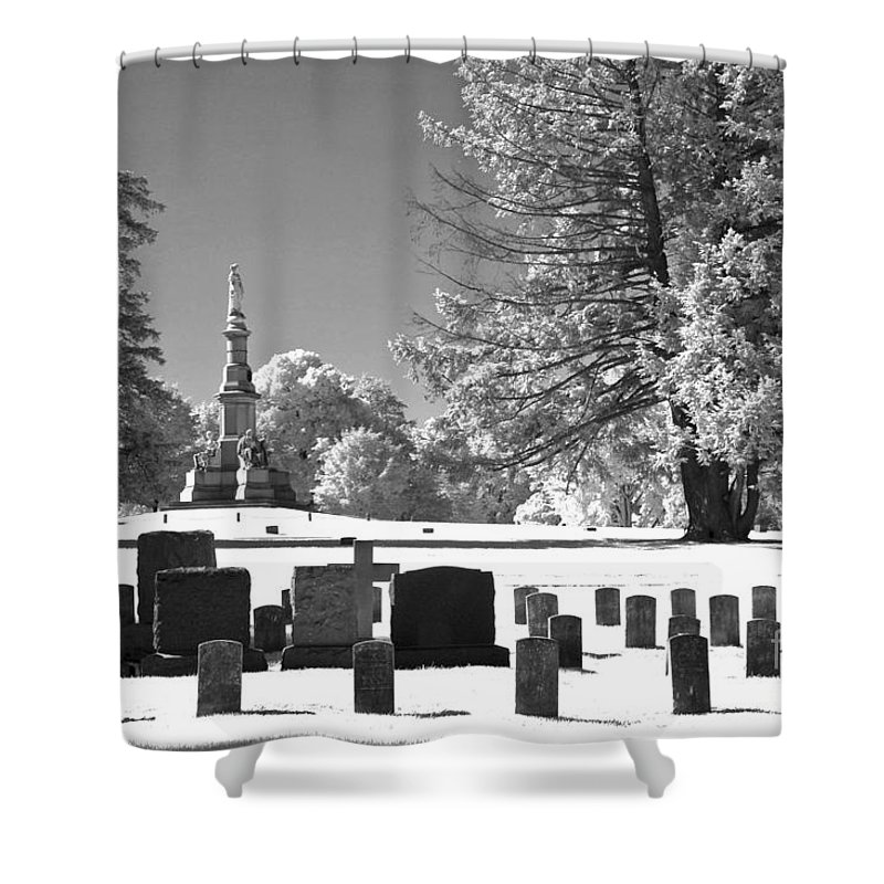 Infrared Shower Curtain featuring the photograph Soldiers Cemetery by Paul W Faust - Impressions of Light