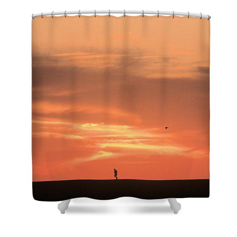 Jogging Shower Curtain featuring the photograph Solitary Jogger by John Harmon