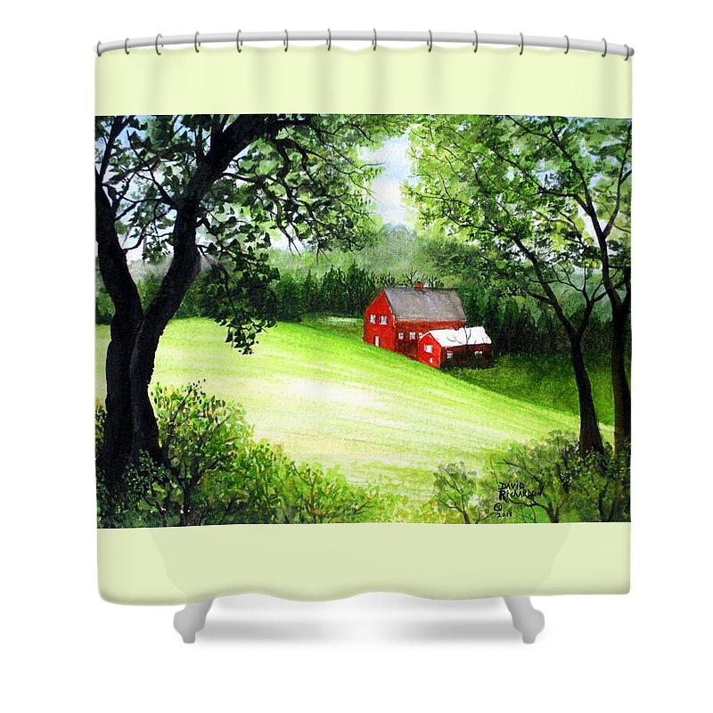 Farm Shower Curtain featuring the painting Solitude by David Richardson